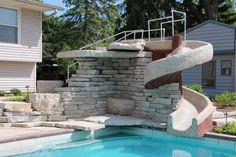 Algonquin IL, Waterfall and Custom Slide - Quantus Pools quantuspools.com 847-907-4995