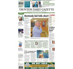 The front page of the Taunton Daily Gazette for Wednesday, Sept. 10, 2014.
