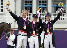 British team dressage Olympic gold medalists Carl Hester, Laura Bechtolsheimer and Charlotte Dujardin