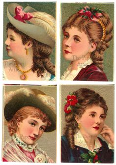 Set of 4 Pretty Victorian Women Antique French Chromo Illustrations