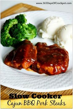 Recipe for Slow Cooker Cajun BBQ Pork Steaks