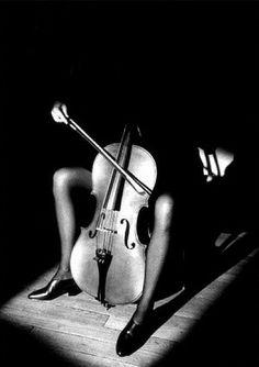 Jeanloup Sieff: 'Woman with cello', Paris, 1984 (gelatin silver print).
