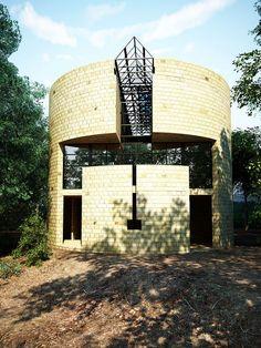 Render of Casa Rotunda - mario Botta