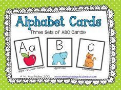 3 sets of free printable alphabet cards.