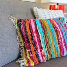 Make your own rag rug pillow with this simple DIY.