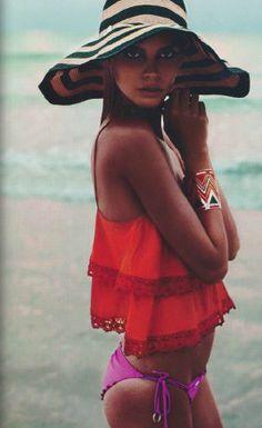 Beach Style done Right! #beachhat #orange #pink #tan