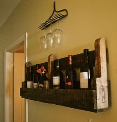 Wine Rack Made From Pallets and Rake Wine Glass Holder! Doing this!!