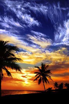Sunset on Key West Beach island