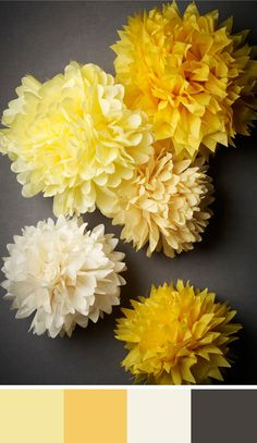 Yellow takes center stage in this color palette of yellows, charcoal grey & off white. Source: bhldn #yellow #grey #weddingdecor #pompoms #colorpalette