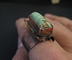 Copper Turquoise Ring/ OOAK/ Copper Jewelry