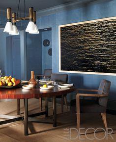 Blue dining room. Steven Volpe Elle decor showcase