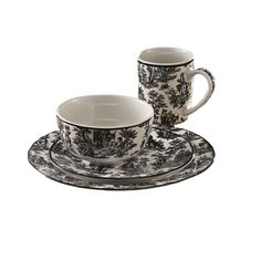 16 Piece Waverly Country Life Dinnerware Set in Black