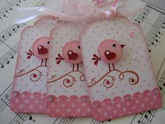 Sweet n Cute Pink Birdie Tags