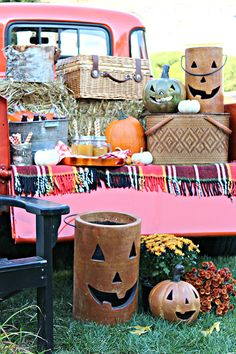 Grab a blanket, a picnic basket, and throw an outdoor fall harvest party with tips from blogger Kristin of Bliss At Home. Make the scene complete with colorful mums and a couple of carved pumpkins!