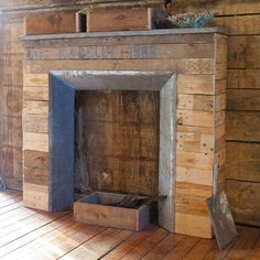 faux fireplace made with pallets...awesome!