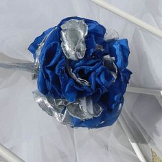 Blue Silver Flower Ornament by beautifulswagstore on Etsy, $8.00