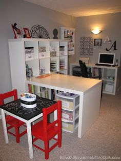 office and playroom, craftsew space, craft areas, basement craft room, craftschool idea, basement school room, kid crafts, playroom/office ideas, craft rooms