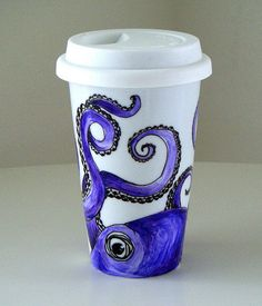 Octopus #ceramic #mug I painted. #ecofriendly #purple #white #black #sea #creature #animal #geekery $30.00