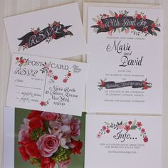 Hand painted floral Wedding Invite Fresh Pink l NEW PRICING l Qty100 Wedding Invitation & RSVP cards with envelopes 3.60ea. $3.60, via Etsy.