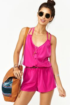 Button Up Romper in Magenta