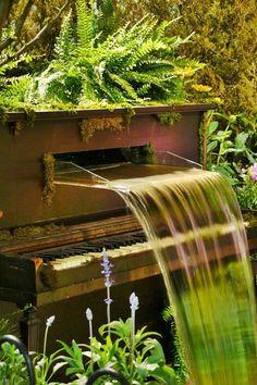 Garden Decoration: #piano! #savetheplanet Wow beautiful piano turned fountain!!