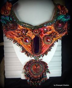 BLUSHING PEACOCK Shibori Bead Embroidered Necklace by 4uidzne, $495.00