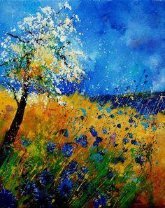 "Saatchi Online Artist: Pol Ledent; Oil, 2012, Painting ""blue cornflowers 450108"""
