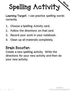 Spelling activity/centers ideas!