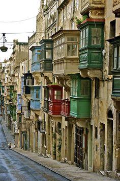 Colorful balconies in La Valletta, Malta.