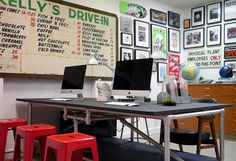 A workspace inside of the iLoveDust design studio in Portland, OR.