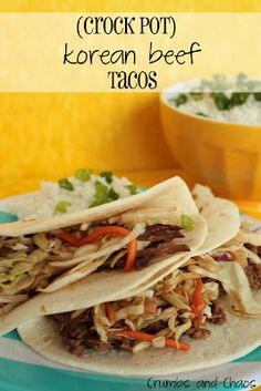 korean beef tacos in the crockpot ... going to try this sometime this week since i still don't have a stovetop! #crockpot