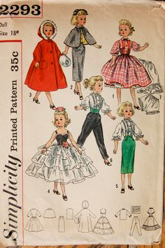 """Vintage Sewing Pattern- Simplicity 2293, 18"""" Doll Clothes for Revlon, Dollikin, Cissy and Sweet Sue"""
