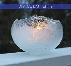 winter parties, ice art, lantern, water balloons, candle holders