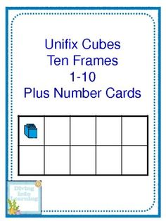 Freebie! 1-10 Ten Frame Cards Plus Number Word Cards Unifix Cube Theme
