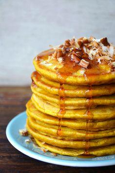 Pumpkin Coconut Pancakes via @Gayle Robertson Roberts Merry Homes and Gardens and @Kelly Teske Goldsworthy Teske Goldsworthy Senyei | Just a Taste #recipe #video