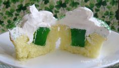 Happier Than A Pig In Mud: Jiggly Jello Cupcakes for St. Patrick's Day