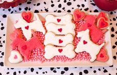"Valentine's Day ""Puppy Love""-Themed Party - Love these Dog Shaped Cookies #valentines"
