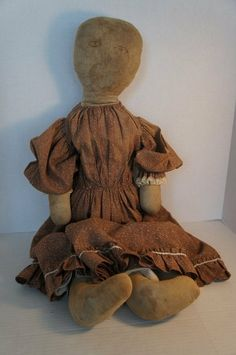 "Antique cloth doll  28"" with a fine ink drawn face"