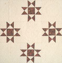 "detail of Ohio stars - C. 1835, 92 x 92"", New England, chintz Ohio star, 2 coordinating chintz fabrics, quilting - medallions, cross hatch, Ohio Stars are in smaller scale chintz, border of chintz - 7.5"", unwashed"