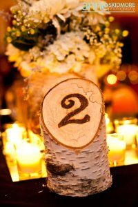 woodburned table number