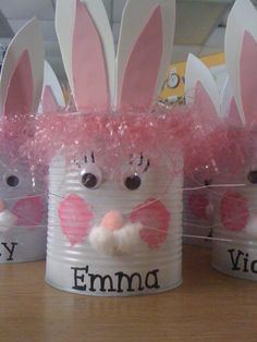 can crafts, easter crafts, coffee cans, bunny crafts, easter gift, tin cans, easter party, easter bunny, easter ideas