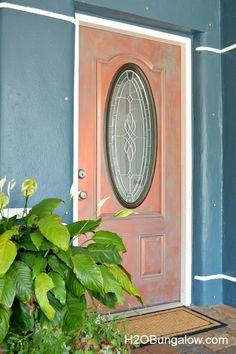 Copper Metallic Paint with Faux Verdigris Patina   Door Project by H20 Bungalow