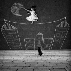 little girls, moon, dreams, sidewalk chalk, inspir, perspective, martin waldbauer, photography, photographi