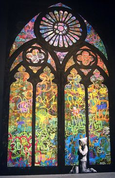 Banksy Stained Glass Cathedral Window