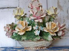 capodimonte | Collectible Italian Capodimonte porcelain basket of roses very large