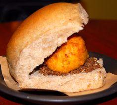 Vada pav -- vegan sliders with crispy potato dumplings. slider, vegan indian, vegan recipes, food, potatoes, laadi, dumplings, vada pav, garlic chutney