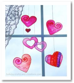 Valentine Crafts For Kids:   Stained Glue Valentines Day Hearts