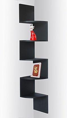 Black Finish Corner Zig Zag Wall Shelf $29.95 #bestseller
