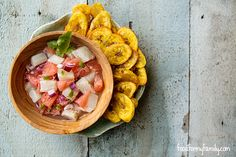 Grapefruit Halibut Ceviche and Plantain Chips #recipe via FoodforMyFamily.com
