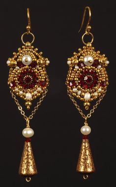 Regalia Bead Embroidered Earrings by NEDbeads on Etsy, $65.00